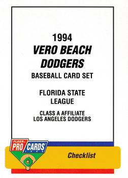 1994 Fleer/ProCards #91 Vero Beach Dodgers Checklist Front