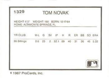 1987 ProCards #1329 Tom Novak Back