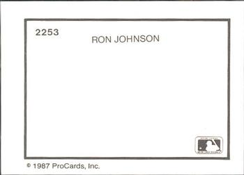 1987 ProCards #2253 Ron Johnson Back