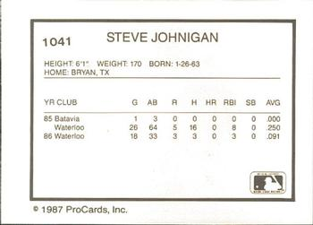 1987 ProCards #1041 Steve Johnigan Back