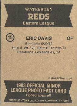 1983 TCMA Waterbury Reds #15 Eric Davis Back