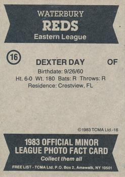 1983 TCMA Waterbury Reds #16 Dexter Day Back