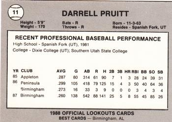 1988 Best Chattanooga Lookouts #11 Darrell Pruitt Back