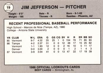 1988 Best Chattanooga Lookouts #19 Jim Jefferson Back