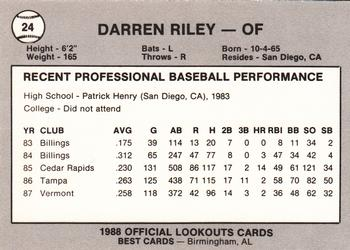 1988 Best Chattanooga Lookouts #24 Darren Riley Back