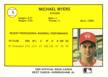 1989 Best Cedar Rapids Reds #5 Mike R. Myers Back