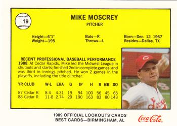 1989 Best Chattanooga Lookouts #19 Mike Moscrey Back