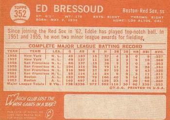 1964 Topps #352 Eddie Bressoud Back