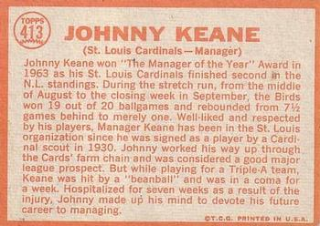 1964 Topps #413 Johnny Keane Back