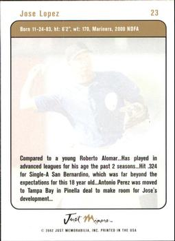 2002-03 Justifiable #23 Jose Lopez Back