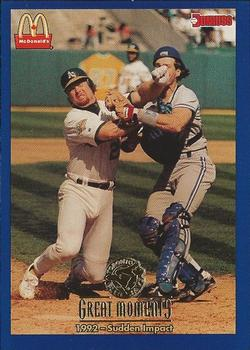 1993 Donruss McDonald's Toronto Blue Jays Great Moments #11 1992-Sudden Impact (Pat Borders) Front