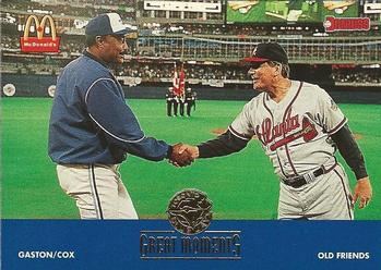 1993 Donruss McDonald's Toronto Blue Jays Great Moments #15 1992-WS Old Friends (Cito Gaston / Bobby Cox) Front