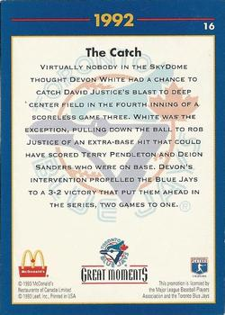 1993 Donruss McDonald's Toronto Blue Jays Great Moments #16 1992-WS The Catch (Devon White) Back