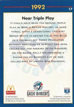 1993 Donruss McDonald's Toronto Blue Jays Great Moments #17 1992-WS Near Triple Play (Kelly Gruber) Back