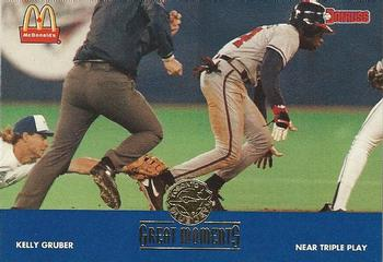 1993 Donruss McDonald's Toronto Blue Jays Great Moments #17 1992-WS Near Triple Play (Kelly Gruber) Front