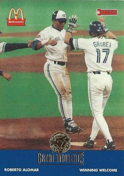 1993 Donruss McDonald's Toronto Blue Jays Great Moments #18b 1992-WS Welcome (Roberto Alomar) Front