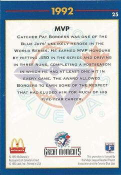 1993 Donruss McDonald's Toronto Blue Jays Great Moments #25 1992-WS MVP (Pat Borders) Back