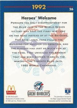 1993 Donruss McDonald's Toronto Blue Jays Great Moments #26 1992-WS Heroes (Roberto Alomar) Back