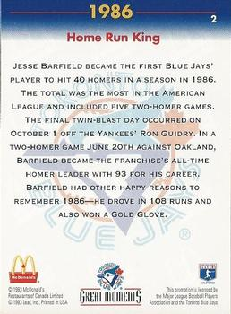 1993 Donruss McDonald's Toronto Blue Jays Great Moments #2 1986-HR King (Jesse Barfield) Back