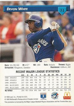 1993 Donruss McDonald's Toronto Blue Jays Great Moments #31 Devon White Back
