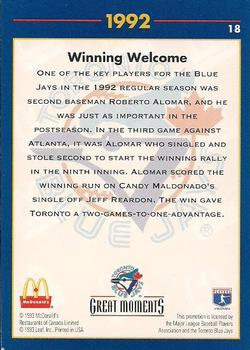 1993 Donruss McDonald's Toronto Blue Jays Great Moments #18a 1992-WS Welcome (Roberto Alomar) Back