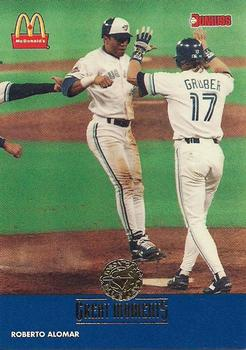 1993 Donruss McDonald's Toronto Blue Jays Great Moments #18a 1992-WS Welcome (Roberto Alomar) Front