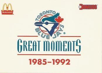 1993 Donruss McDonald's Toronto Blue Jays Great Moments #36 Checklist Front