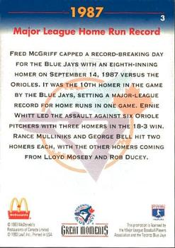 1993 Donruss McDonald's Toronto Blue Jays Great Moments #3 1987-HR Record (Fred McGriff) Back