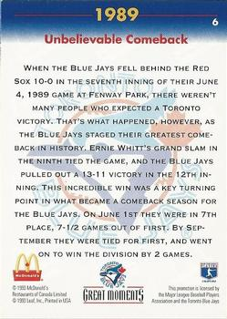 1993 Donruss McDonald's Toronto Blue Jays Great Moments #6 1989-Unbelievable Comeback (Ernie Whitt) Back