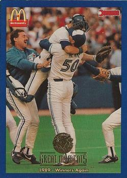 1993 Donruss McDonald's Toronto Blue Jays Great Moments #7 1989-Winners Again (Tom Henke) Front