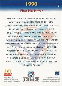1993 Donruss McDonald's Toronto Blue Jays Great Moments #8 1990-First No-Hitter (Dave Stieb) Back