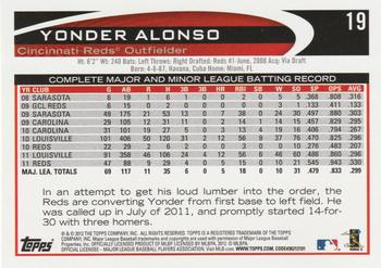 2012 Topps #19 Yonder Alonso Back