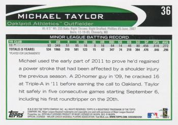 2012 Topps #36 Michael Taylor Back