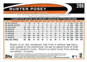 2012 Topps #398 Buster Posey  Back