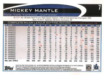 2012 Topps #7 Mickey Mantle Back