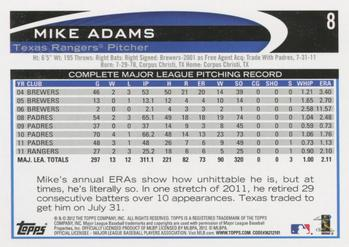 2012 Topps #8 Mike Adams Back