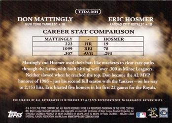 2012 Topps - Timeless Talents Dual Autographs #TTDA-MH Don Mattingly / Eric Hosmer Back