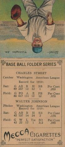 1911 Mecca Double Folders T201 #22 Walter Johnson / Gabby Street Back