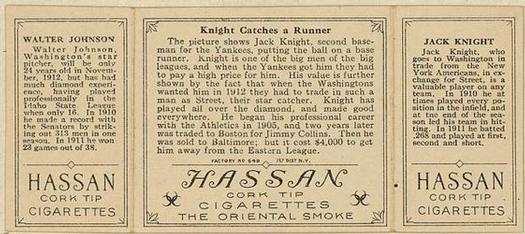1912 Hassan Triple Folders T202 #NNO Knight Catches a Runner (Jack Knight / Walter Johnson) Back