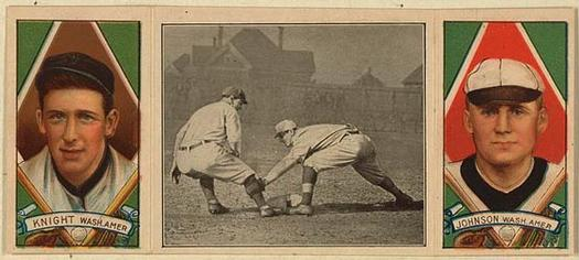 1912 Hassan Triple Folders T202 #NNO Knight Catches a Runner (Jack Knight / Walter Johnson) Front