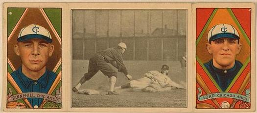1912 Hassan Triple Folders T202 #NNO Lord Catches His Man (Harry Lord / Lee Tannehill) Front