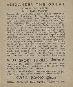1948 Swell Sport Thrills #11 Bases Loaded: Alexander The Great - Grover C. Alexander Back