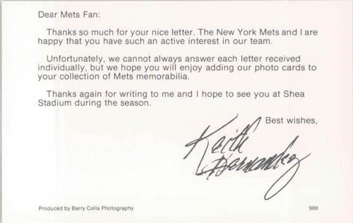 1989 Barry Colla New York Mets Postcards #989 Keith Hernandez Back
