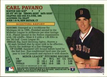 1996 Bowman #259 Carl Pavano Back