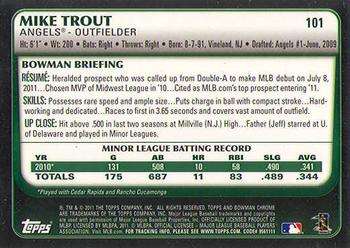 2011 Bowman Draft Picks & Prospects - Chrome #101 Mike Trout Back