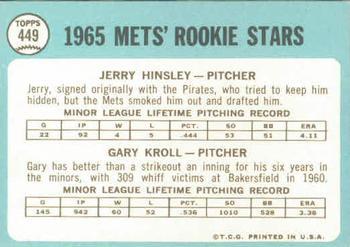 1965 Topps #449 Jerry Hinsley Gary Kroll New York Mets RC Rookie Baseball Card