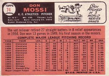 1966 Topps #74 Don Mossi Back