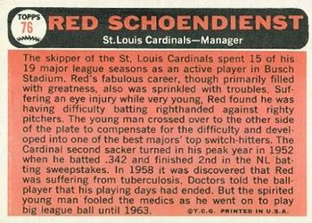 1966 Topps #76 Red Schoendienst Back