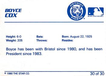 1990 Star Bristol Tigers #30 Boyce Cox Back