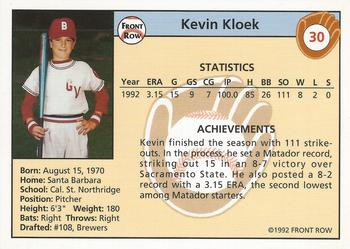 1992 Front Row Draft Picks #30 Kevin Kloek Back